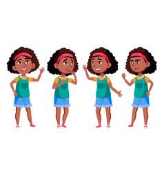 Afro american girl black school student vector