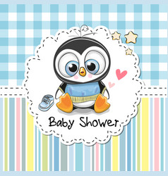 Baby shower greeting card with cute penguin vector