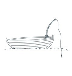 Blue dark silhouette wooden fishing boat in lake vector