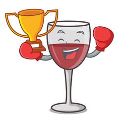 Boxing winner wine mascot cartoon style vector