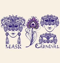 carnival masks vector image