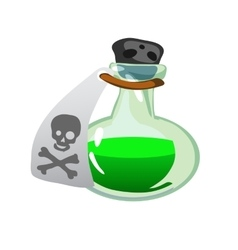 Cartoon potion bottle Vial with green liquid vector