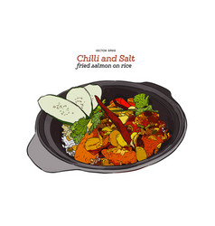 chilli and salt fried salmon on rice vector image