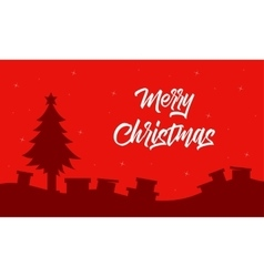 Christmas landscape with gift of silhouettes vector
