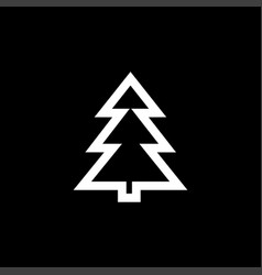 christmas tree icon on black background black vector image