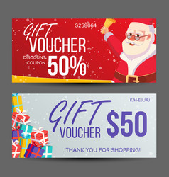 Christmas voucher horizontal banner merry vector