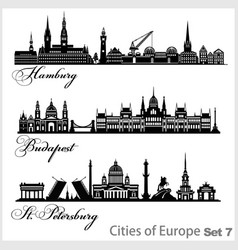 City in europe - saint petersburg budapest vector