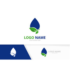 Clear blue droplet logo combination ecological vector