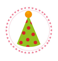 color circular frame with party hat vector image