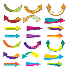 colorful arrow icons set on a white background vector image