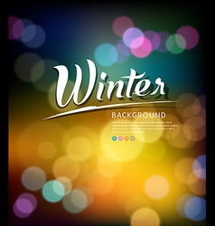 Colorful bokeh abstract winter background vector