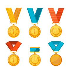 colorful collection golden medals vector image