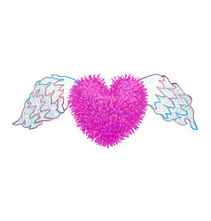 Colorful of heart with wings vector