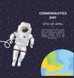 Cosmonautics day poster with spaceman vector