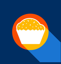 cupcake sign white icon on tangelo circle vector image
