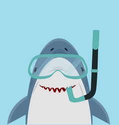 cute white shark with diving equipment vector image
