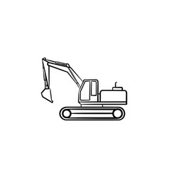excavator hand drawn sketch icon vector image