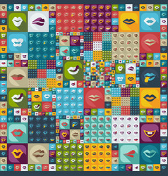 Flat concept set modern design with shadow lips vector