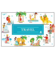 Flat summer travel colorful concept vector