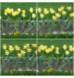 Flowers on the grass Collection of abstract vector