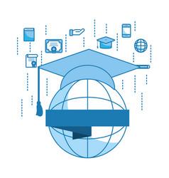 Globe and graduation cap vector
