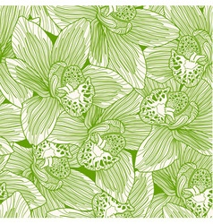 Green and white orchid drawing seamless pattern vector