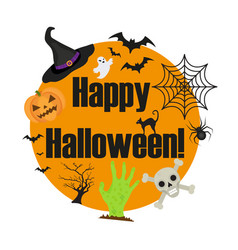 halloween round frame for text with a spider vector image