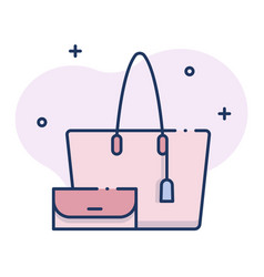 Hand bag linecolor vector