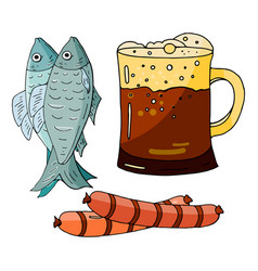 hand drawn elements dark beer fish and sausages vector image