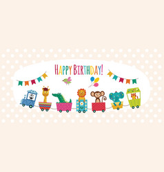 happy birthday card with cartoon animals on toy vector image
