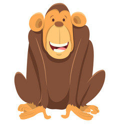 happy chimpanzee ape animal character vector image