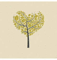 Heart Shaped Tree on Recycled Paper vector image