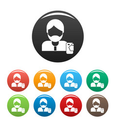 hipster man take selfie icons set color vector image