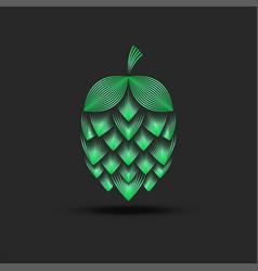 Hop cone logo 3d creative line art for modern vector