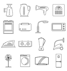 Household appliances icons set outline style vector image