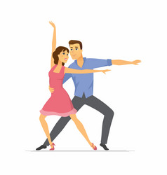 hustle dancers - cartoon people characters vector image