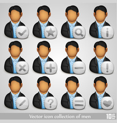 icon collection of men vector image