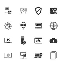 internet server network icons set vector image