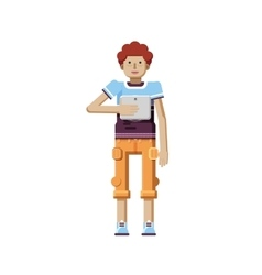 Isolated of European redhead man with vector