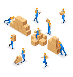 Isometric collection of workers in a warehouse of vector