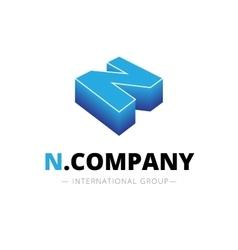 isometric gradient N letter logo Company vector image