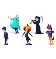 kids in halloween costumes spooky set vector image