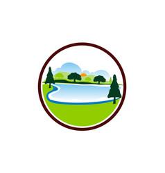 lake mountain tree vector image