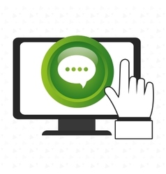 laptop chat hand icon vector image