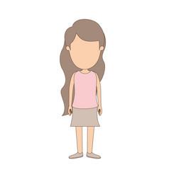 Light color caricature faceless full body girl vector