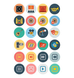 Multimedia Flat Icons 3 vector