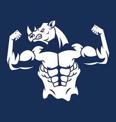 Muscular rhino silhouette vector