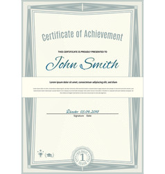 Official light green certificate of a4 format with vector
