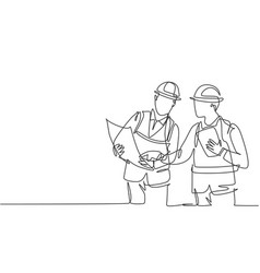 one single line drawing young architect vector image