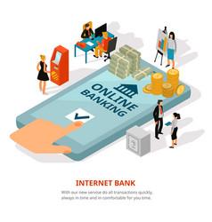 Online banking isometric banner vector
